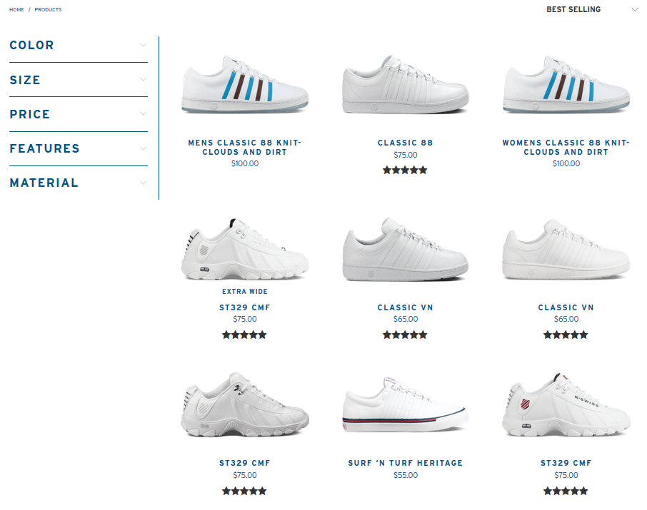 Screenshot showing an ecommerce page showing shoes