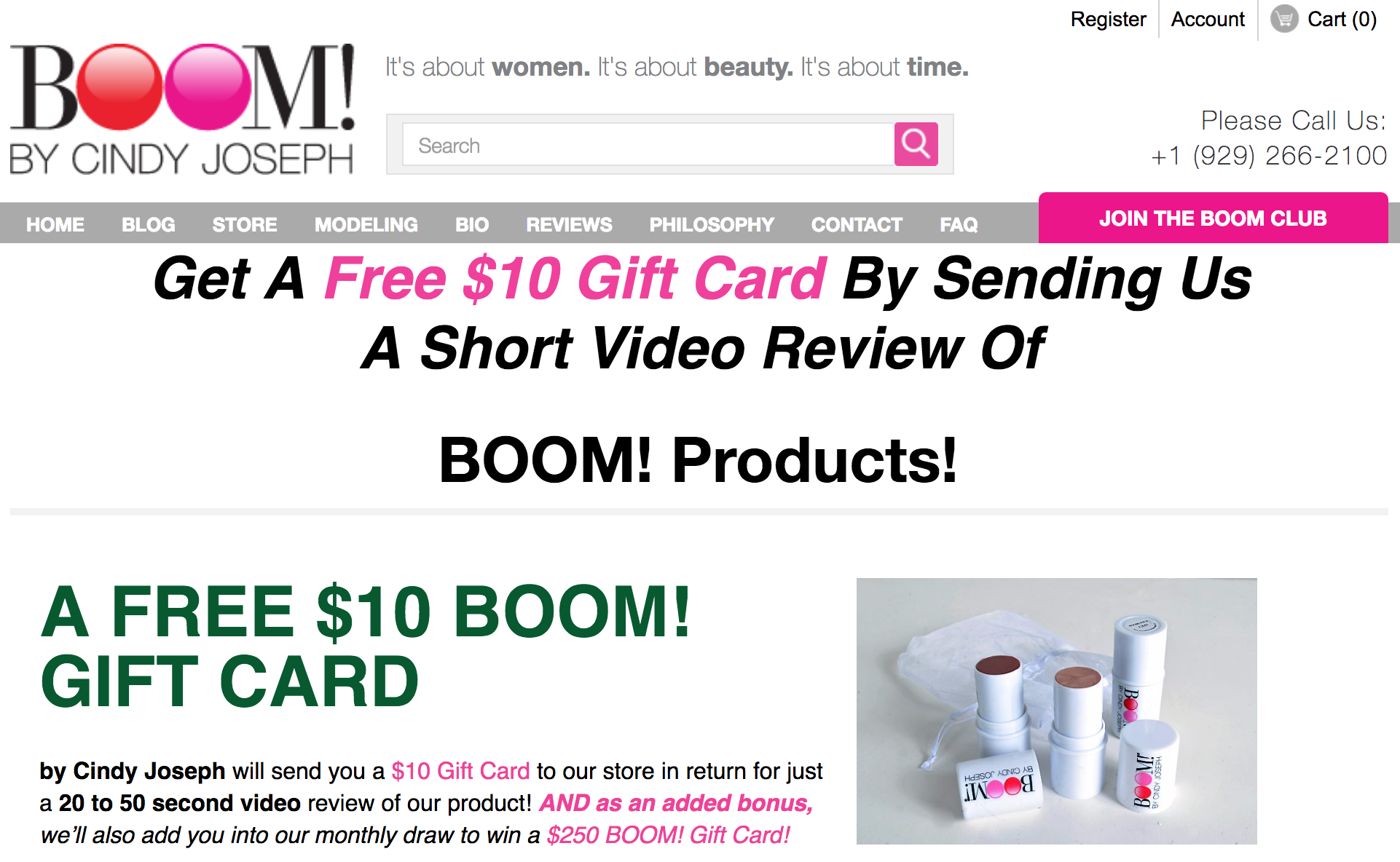 Screenshot showing a gift card page on boom