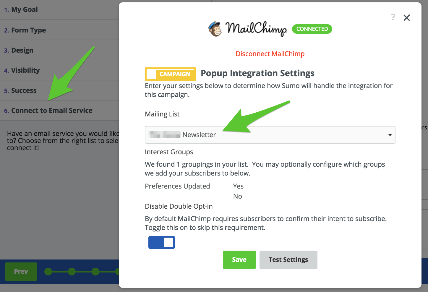Screenshot showing Sumo email settings page