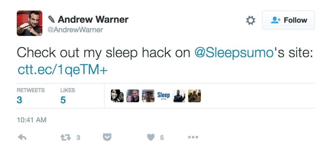 Screenshot showing a tweet