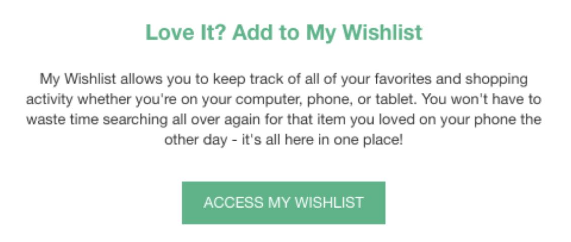 "Screenshot showing a ""add it to your wishlist"" CTA"