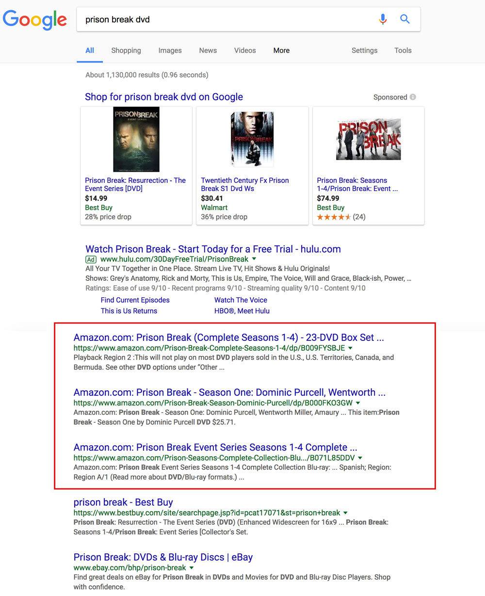 """Screenshot showing a google search for """"prison break dvd"""", with amazon results highlighted"""