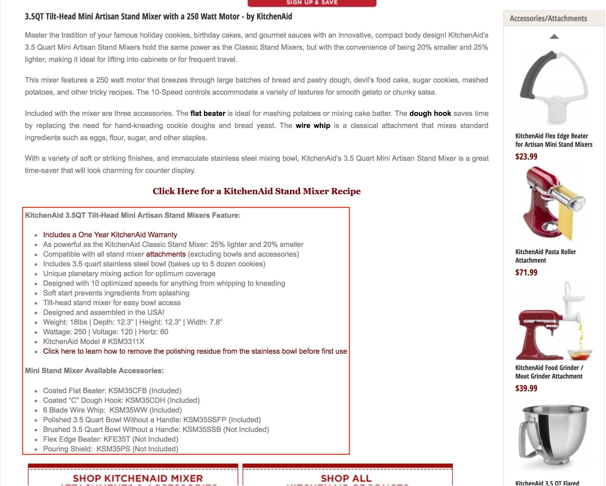 Screenshot showing an ecommerce product description