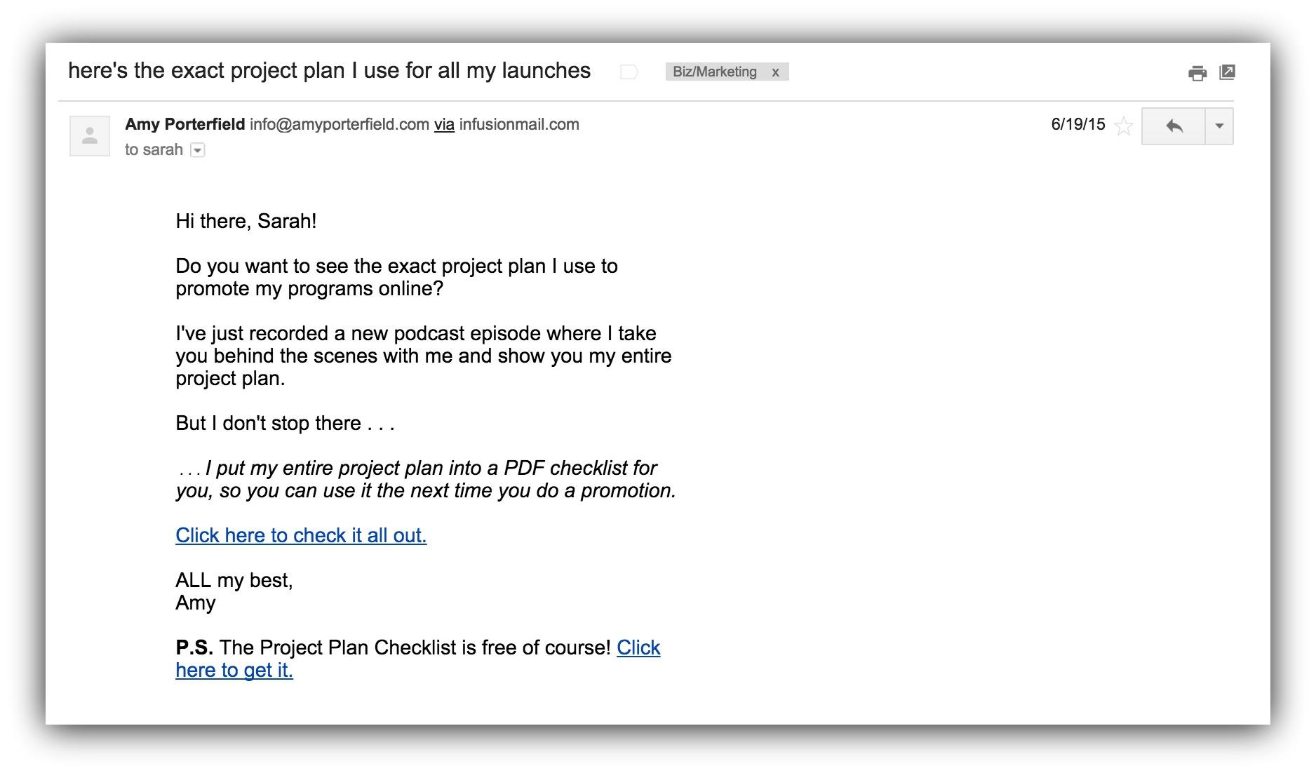 Screenshot of an email sent by Amy Porterfield