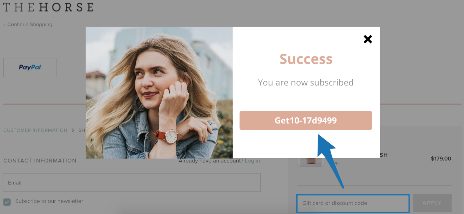 Screenshot showing an email signup success popup