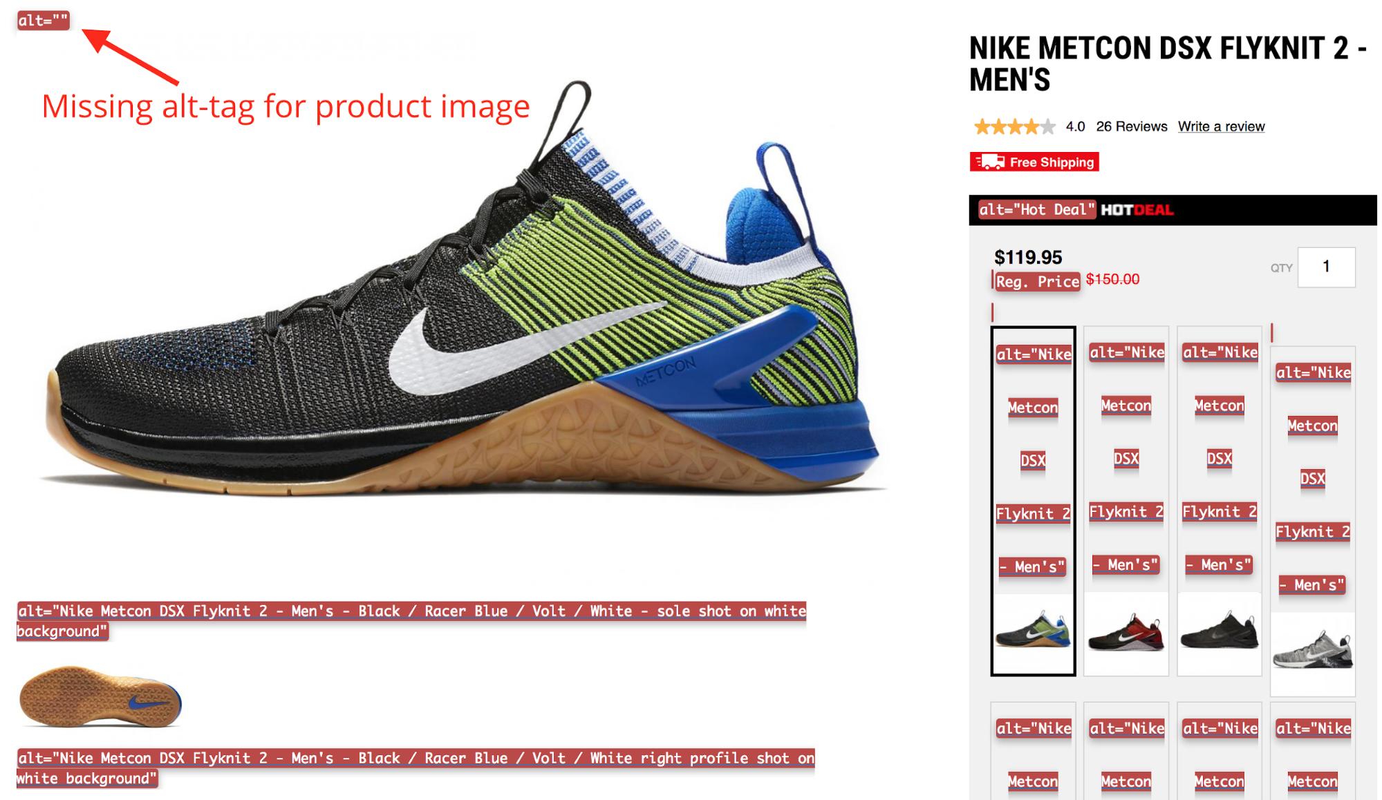 Screenshot showing shoe product page
