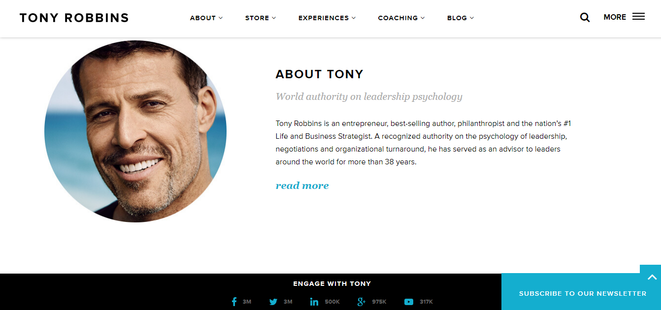 Screenshot of the About page on Tony Robbins