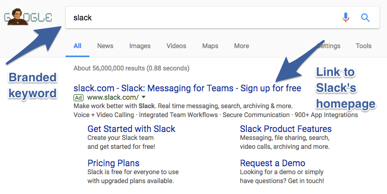 Screenshot showing how Slack buys ads for their own name