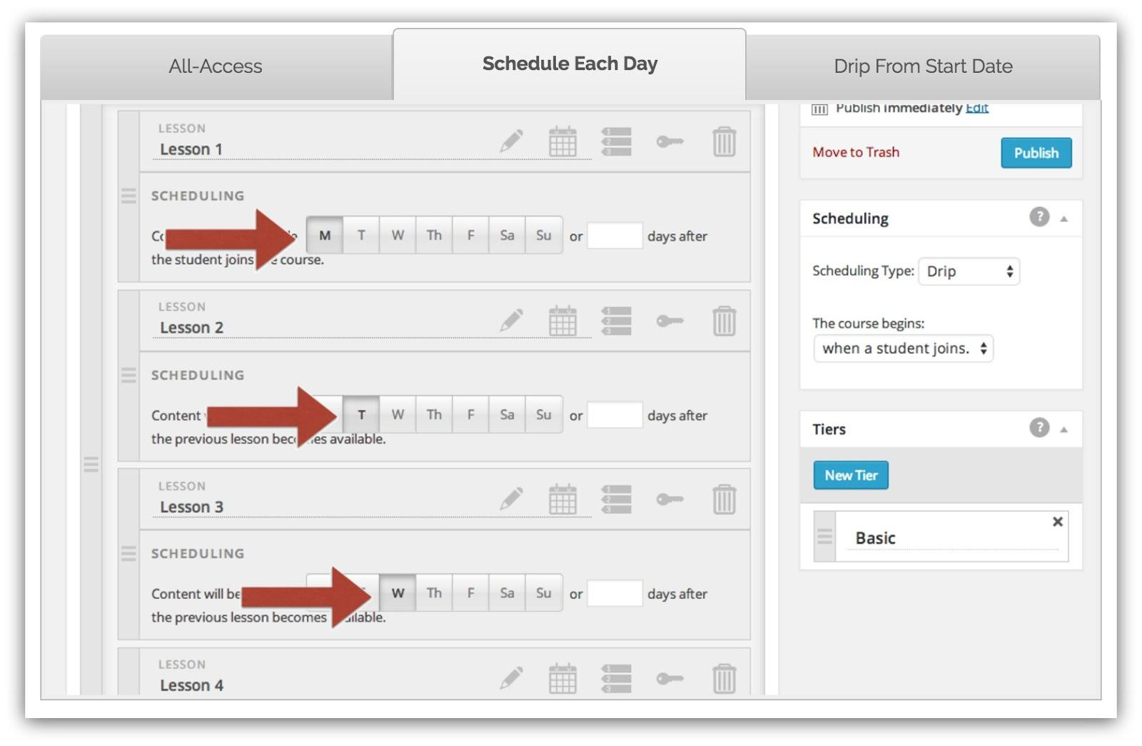 Screenshot of a wordpress plugin that allows you to schedule different lessons on different days
