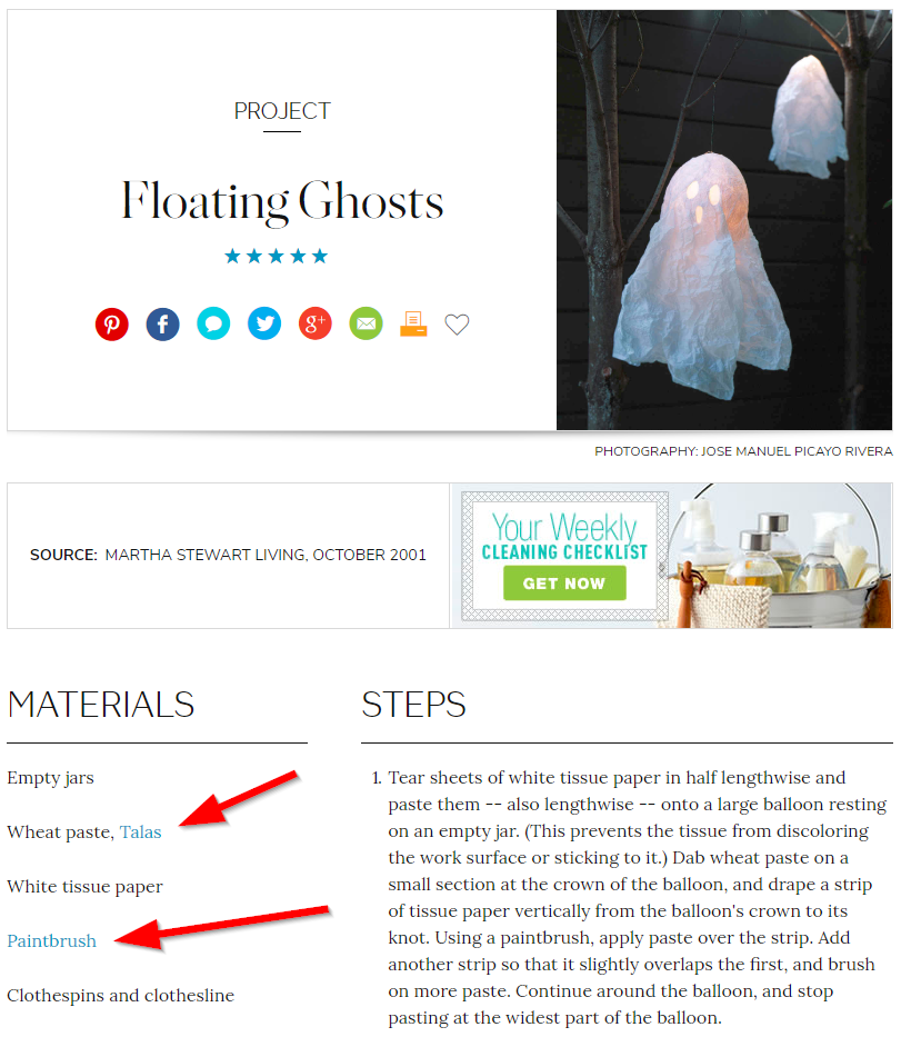 Screenshot showing a site with Halloween content