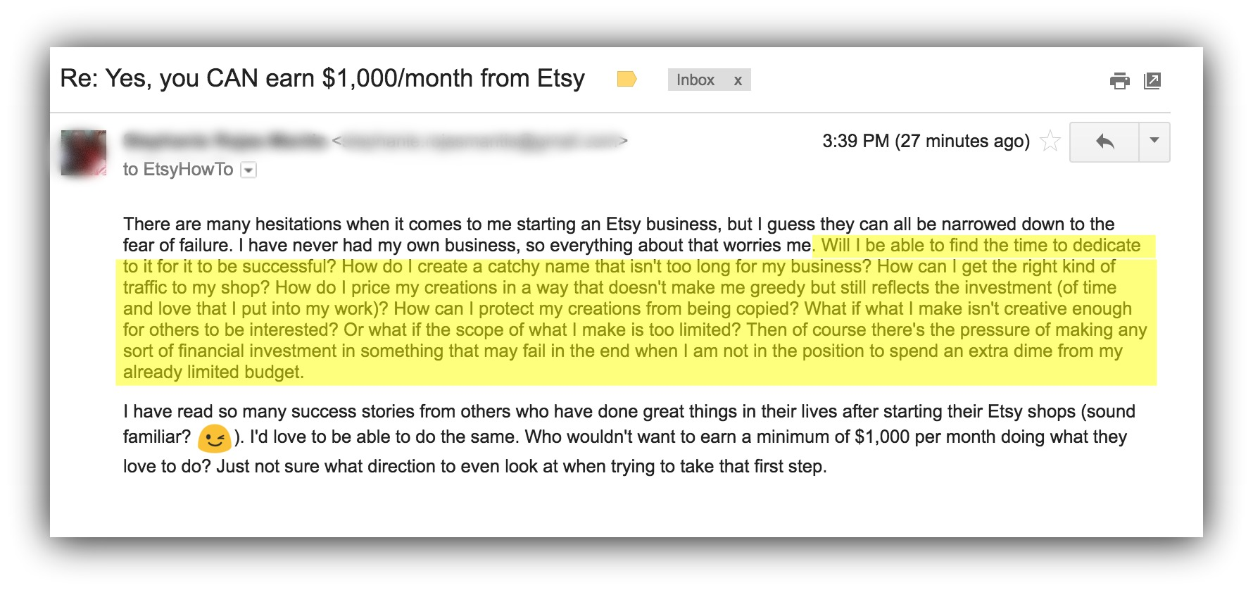 etsy email example