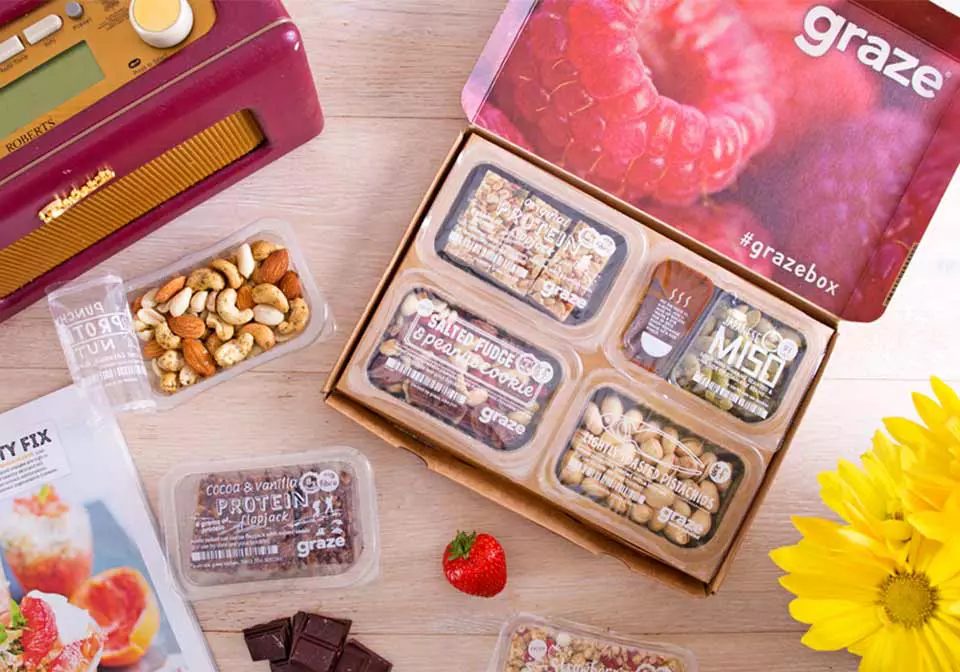 Photo of a grazebox with delicious looking snacks inside