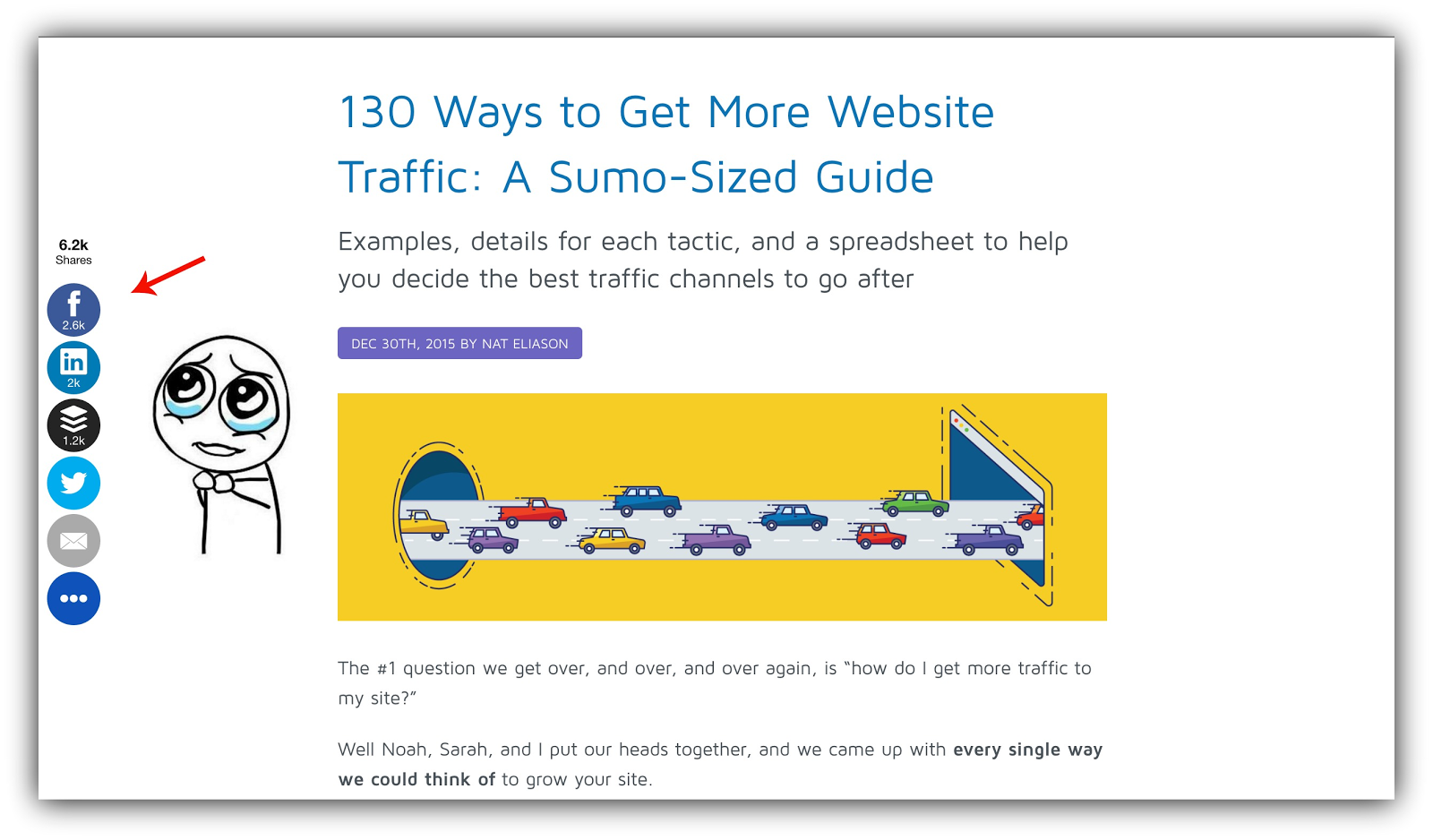 Screenshot showing Sumo Share buttons on an article