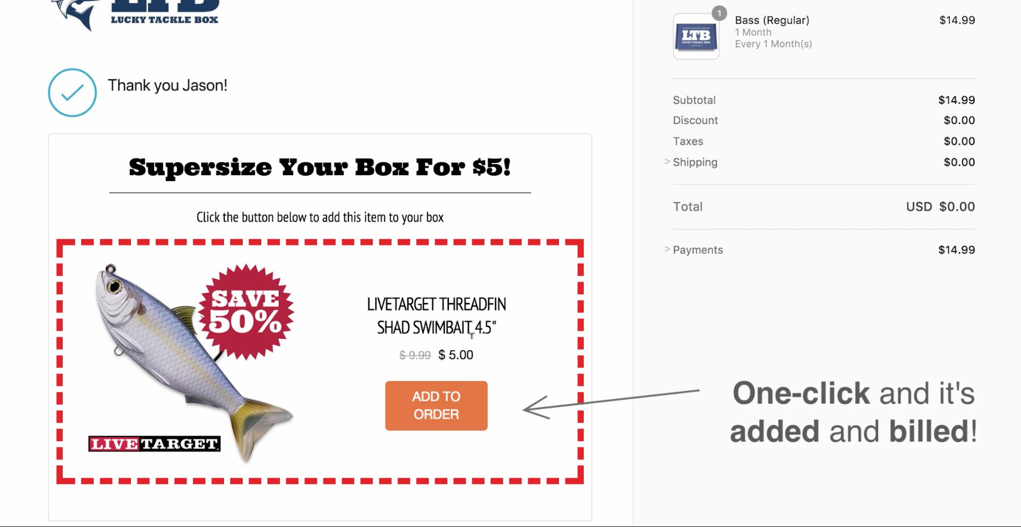 Screenshot showing a cross-sell