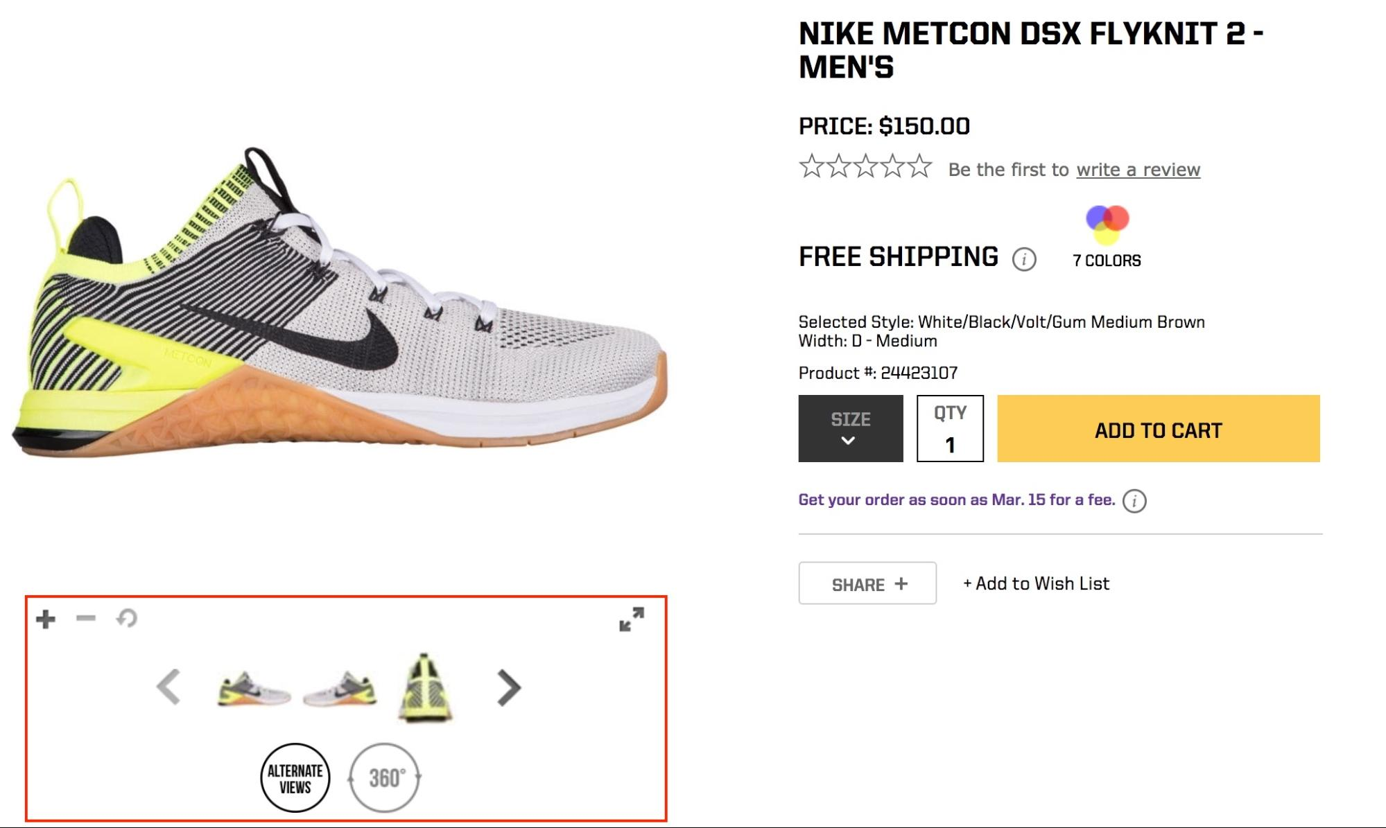 Screenshot showing ecommerce product page