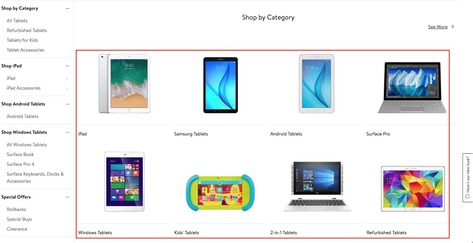 Screenshot showing different categories of electronics