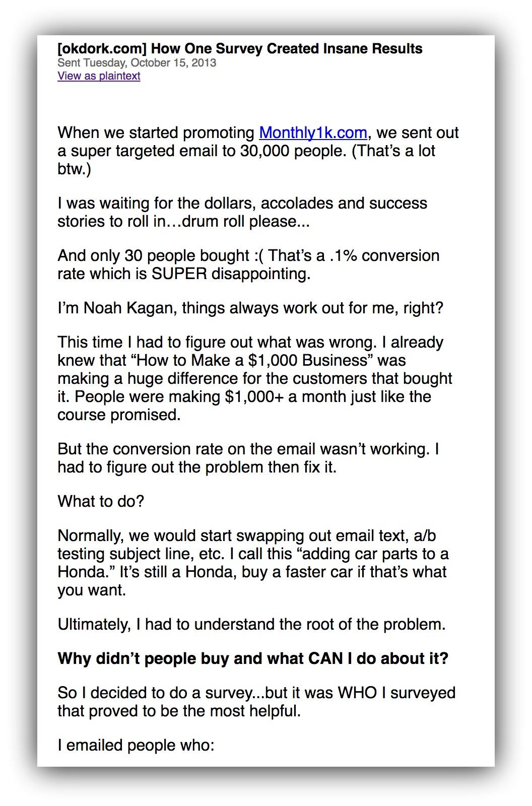 ok dork email example