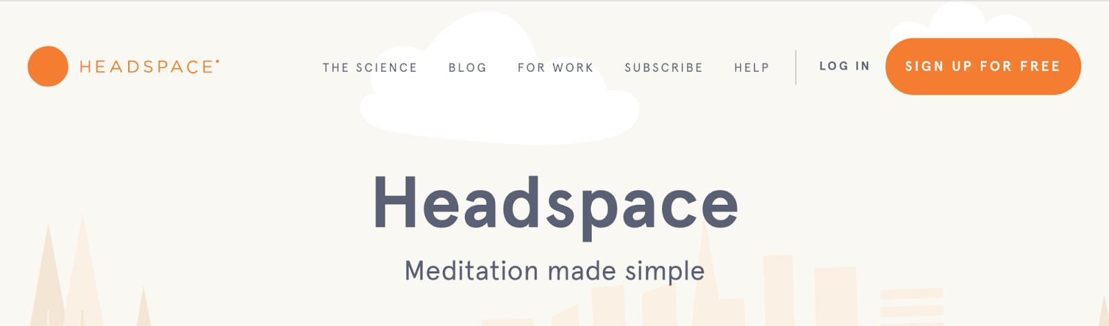 Screenshot showing Headspace