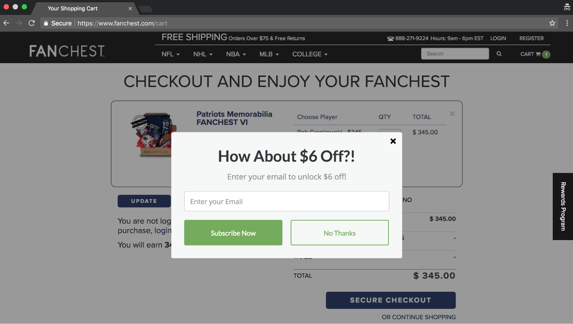 Screenshot showing a Sumo discount popup