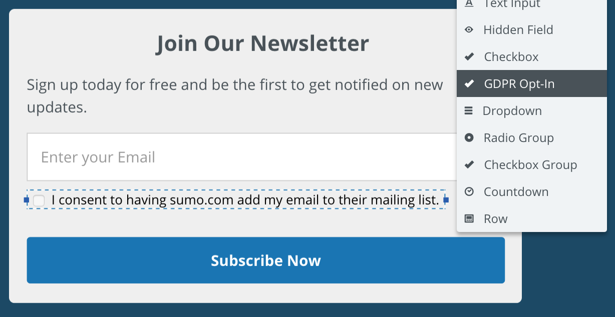 Screenshot showing Sumo new popup page