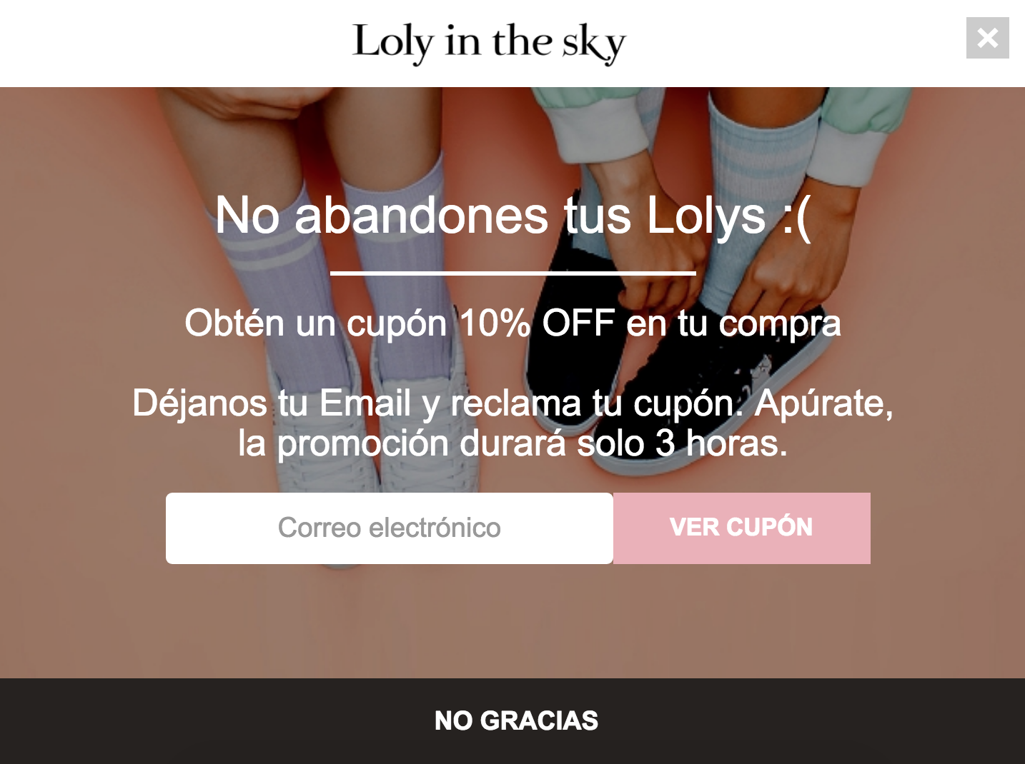 Screenshot showing a Sumo popup in Spanish