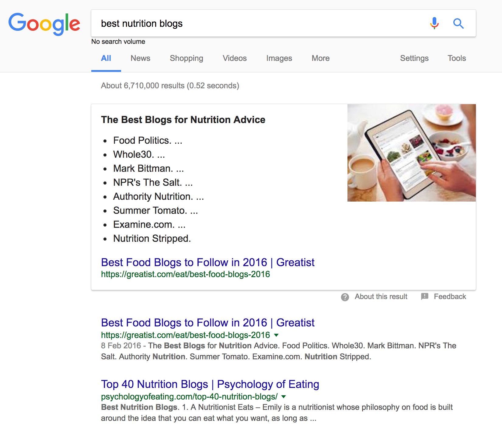 "Screenshot of the google search results for ""best nutrition blogs"""