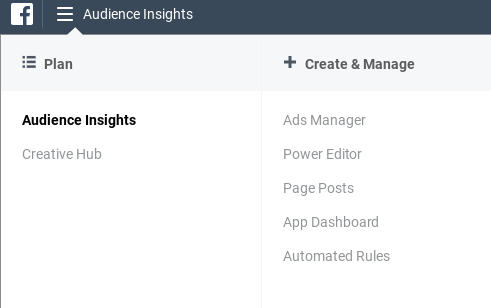 Screenshot showing facebook audience insights page