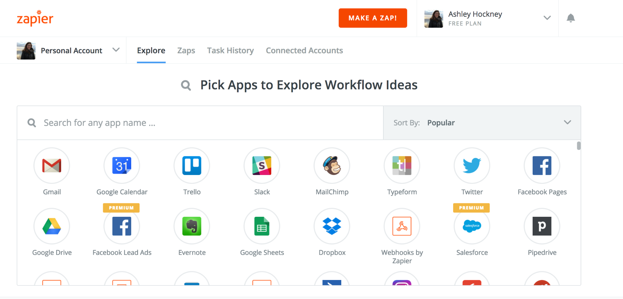 Screenshot showing available apps on zapier