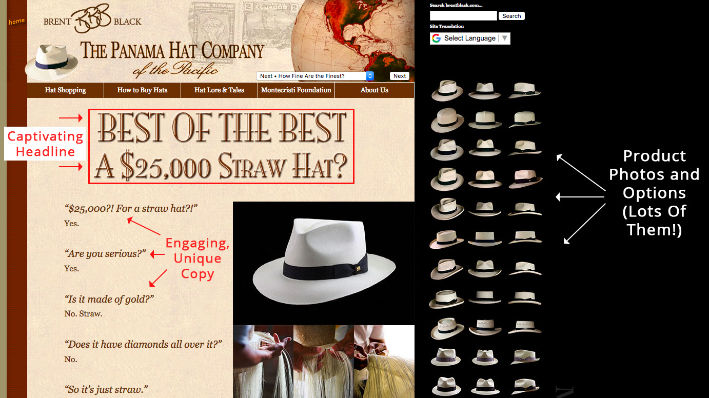 Screenshot showing copy on a hat