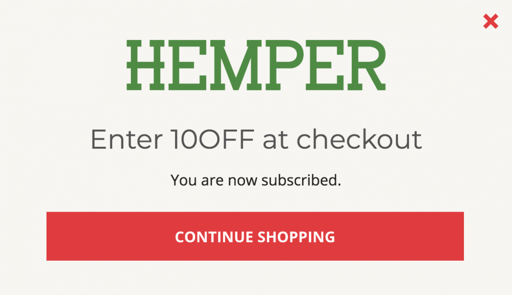 Screenshot showing a discount code for Hemper
