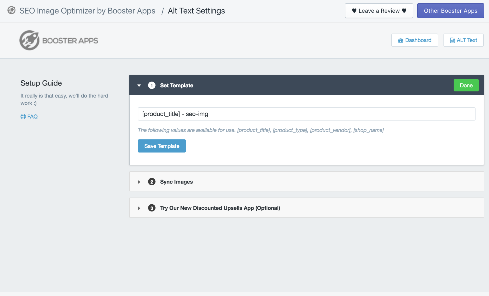 Screenshot of the settings page for SEO image optimizer