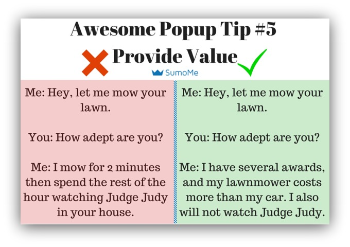 Popup tip provide value
