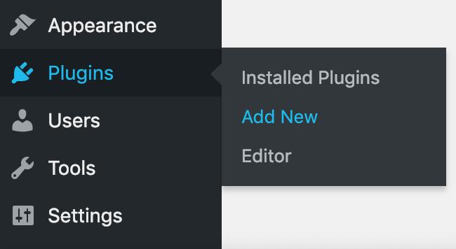Screenshot showing Wordpress dashboard tabs