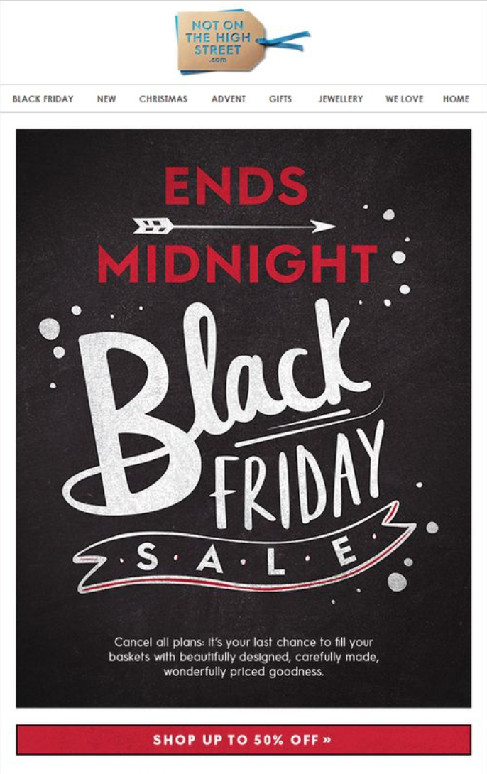 Screenshot showing a black friday promo email
