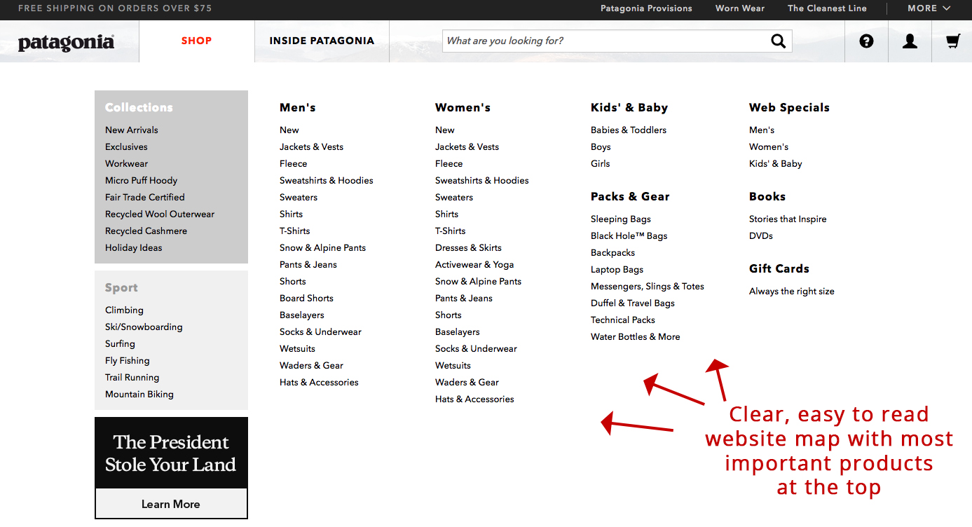 Screenshot showing a page on patagonia