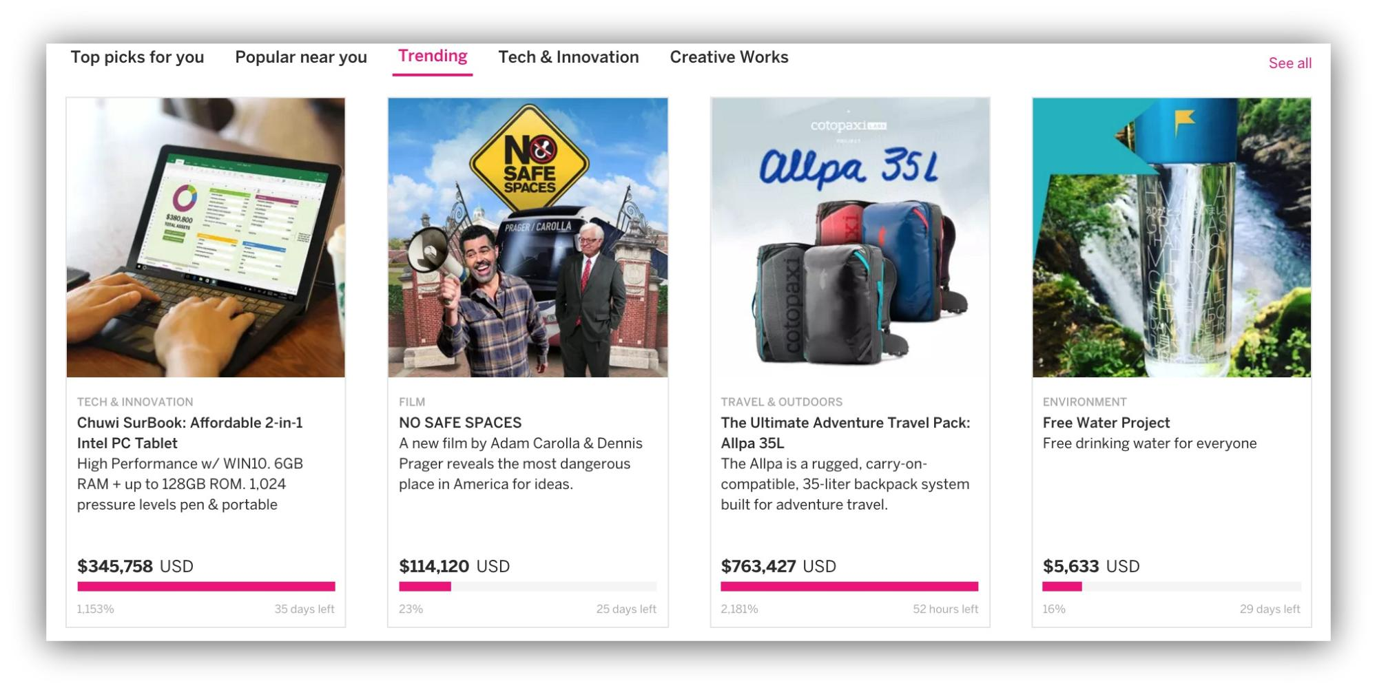 Screenshot showing multiple indiegogo campaigns