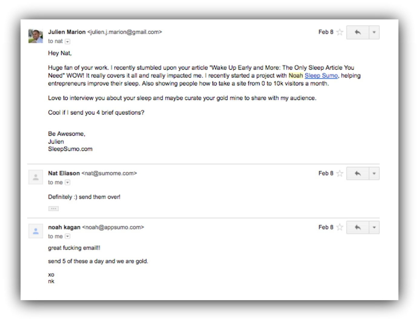 Screenshot of an email sent to Nat Eliason, and Noah