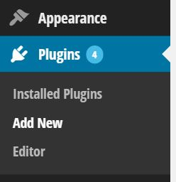 Screenshot showing the plugins tab on a wordpress site