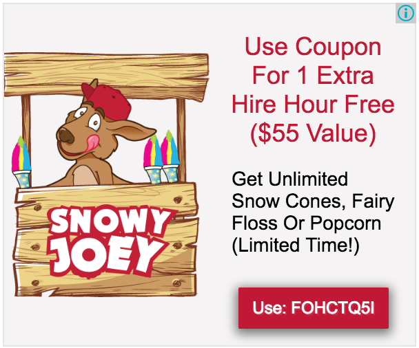 Screenshot of a Snowy Joey promotion on their website