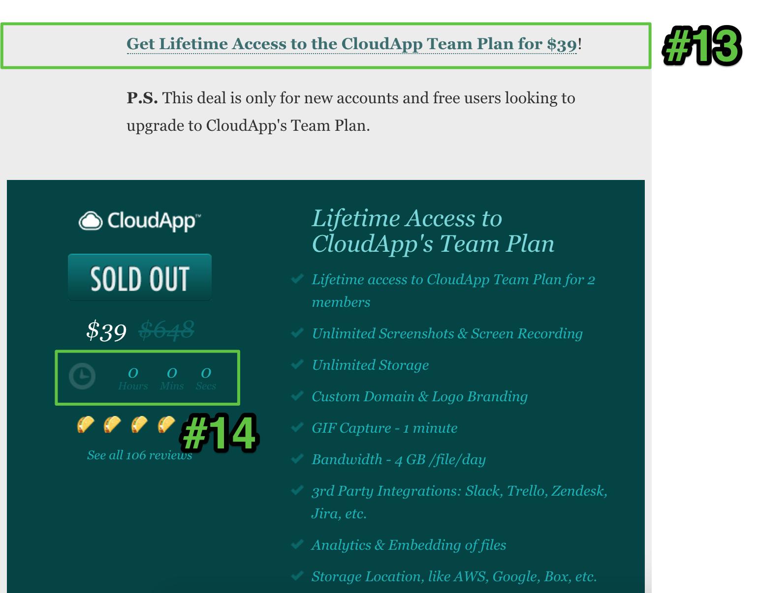 Screenshot showing an appsumo deal