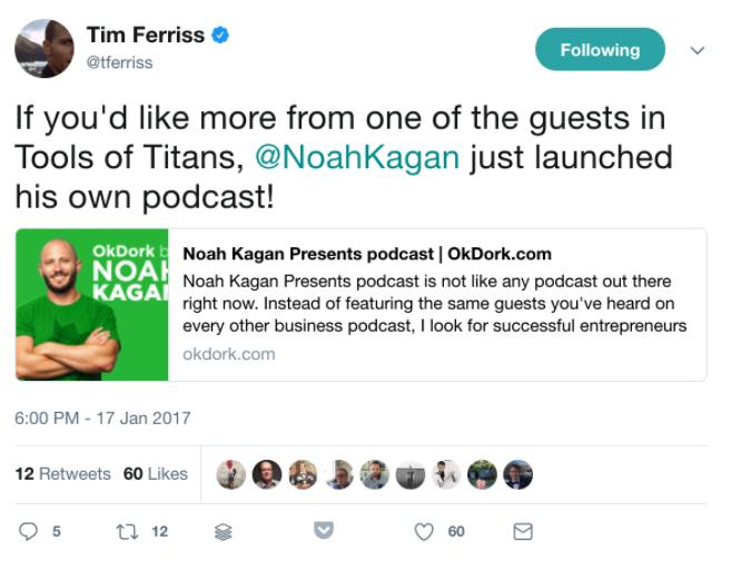 Screenshot showing a tweet about Noah Kagan