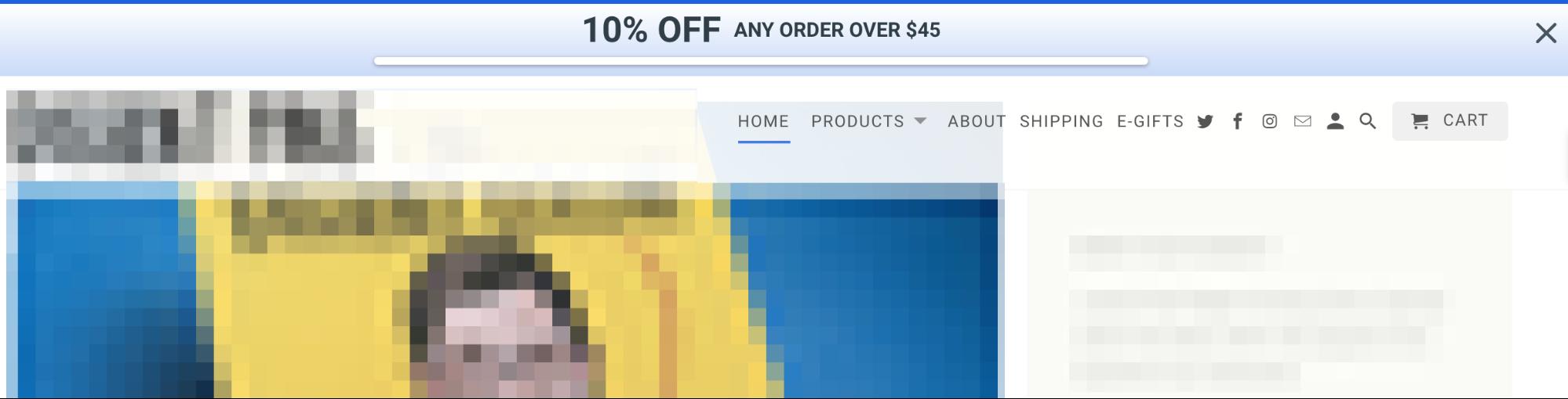 Screenshot showing a sumo shortcut bar offering a discount