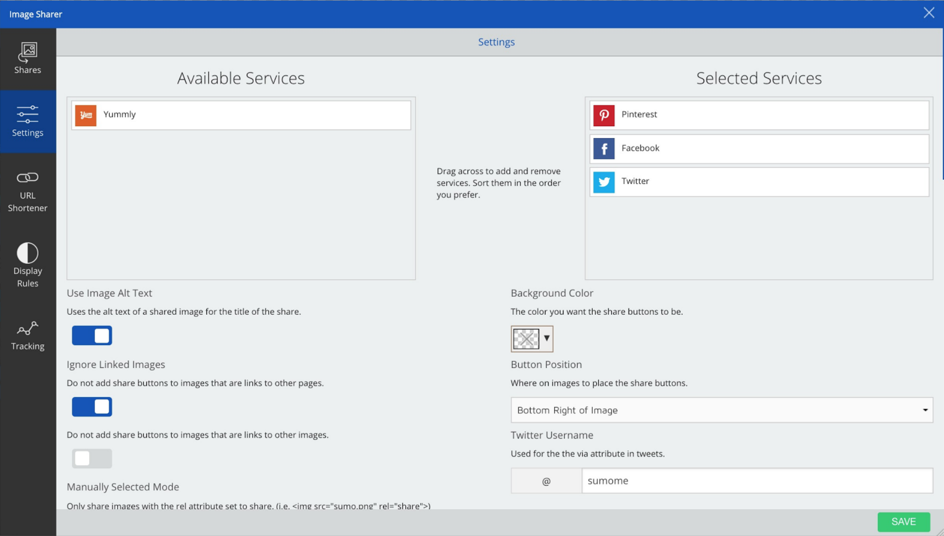 Screenshot of the Settings page for an email collection tool on the Sumo dashboard