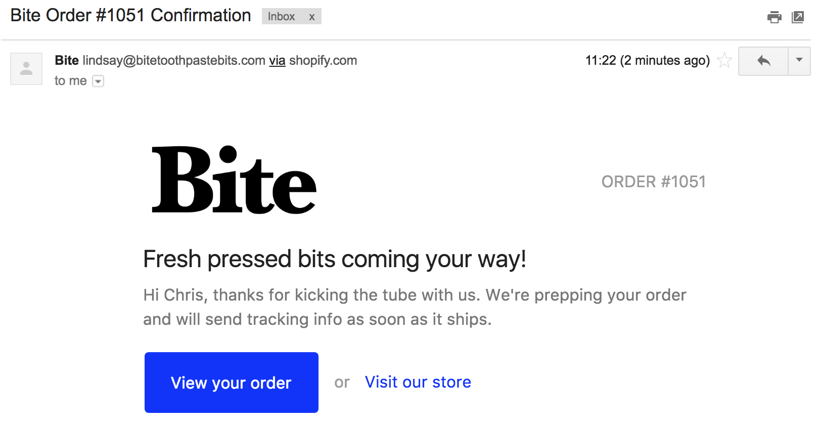 Screenshot showing an email sent by Bite