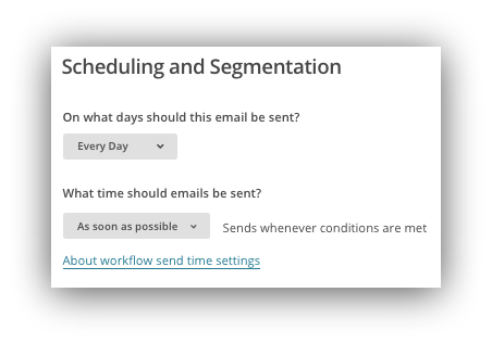 Screenshot showing scheduling and segmentation settings on the mailchimp automation tab