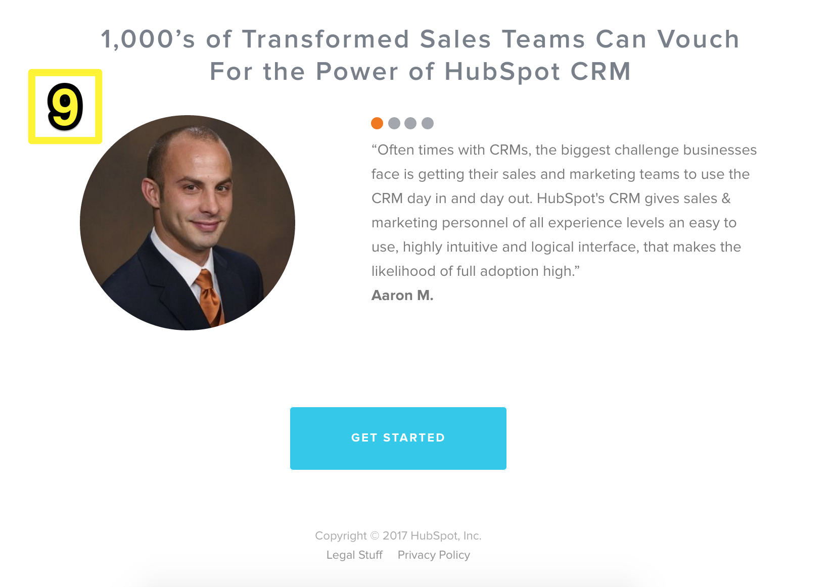 Screenshot showing a testimonial for hubspot