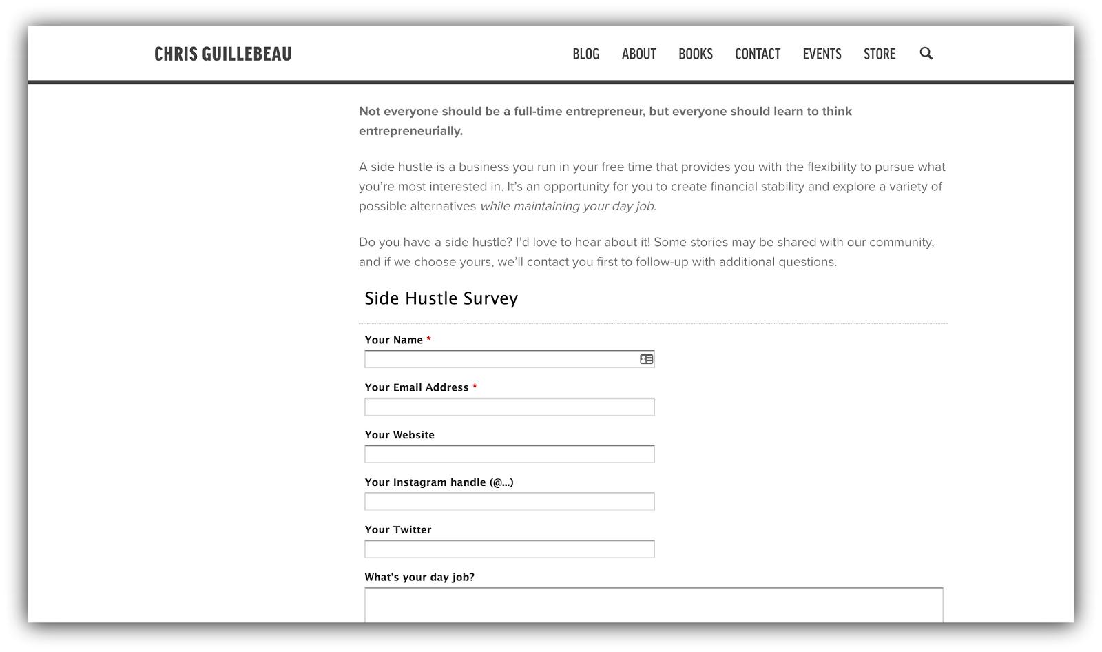 popup survey example