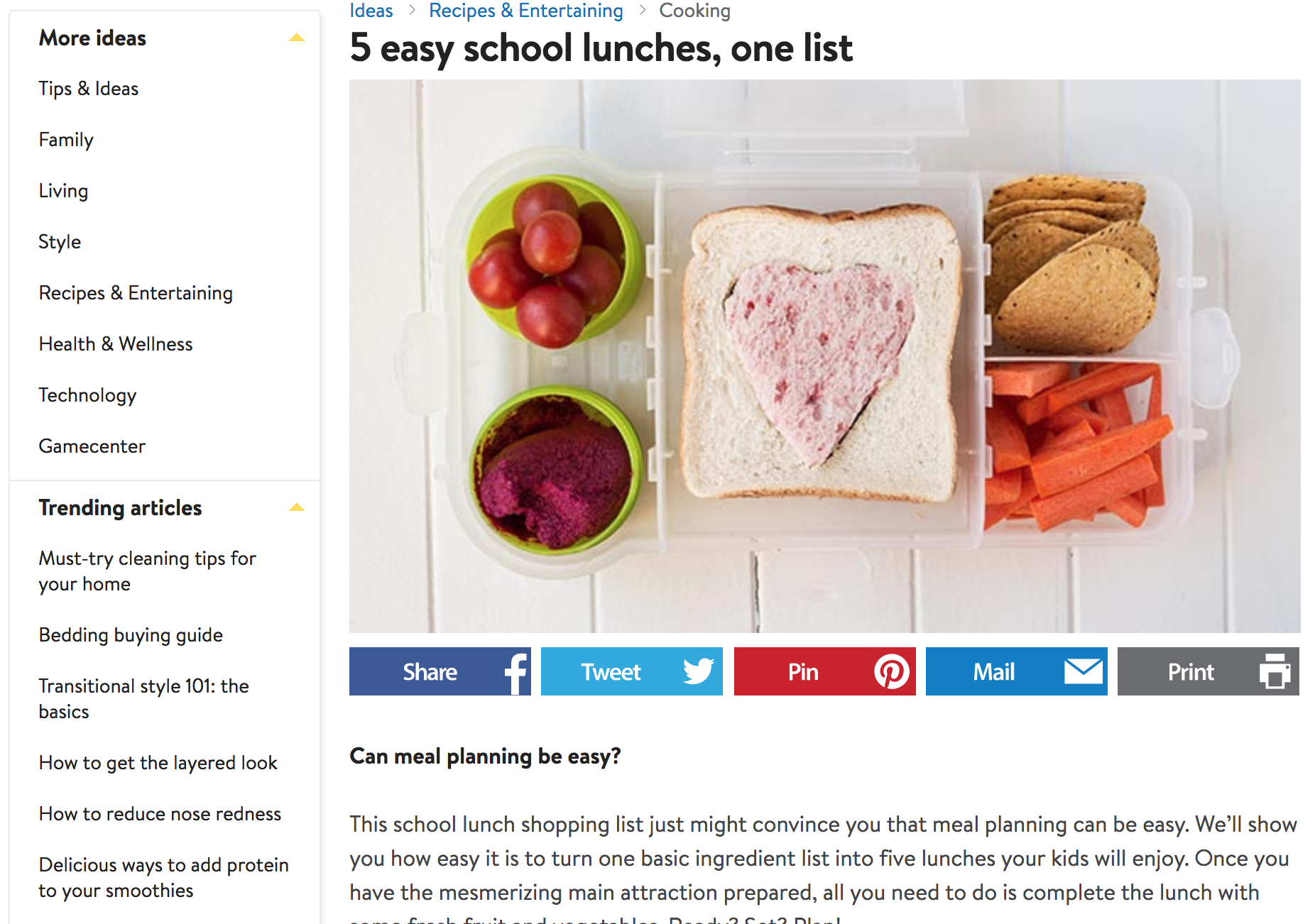 Screenshot showing content on school lunches
