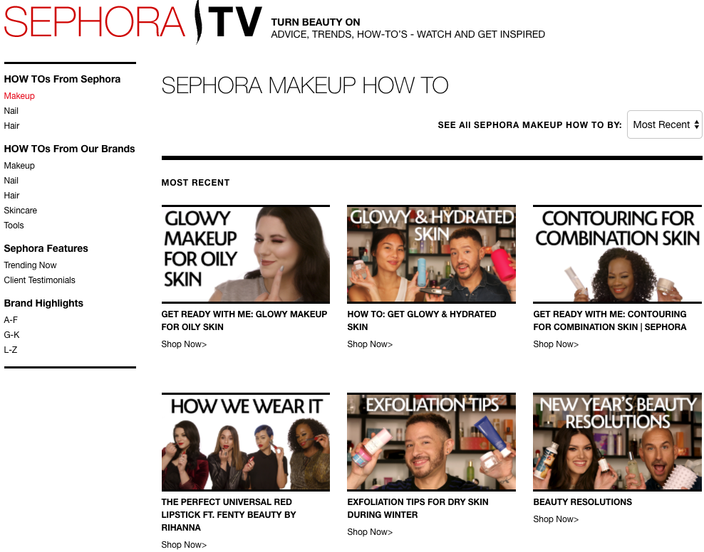 Screenshot showing content by sephora