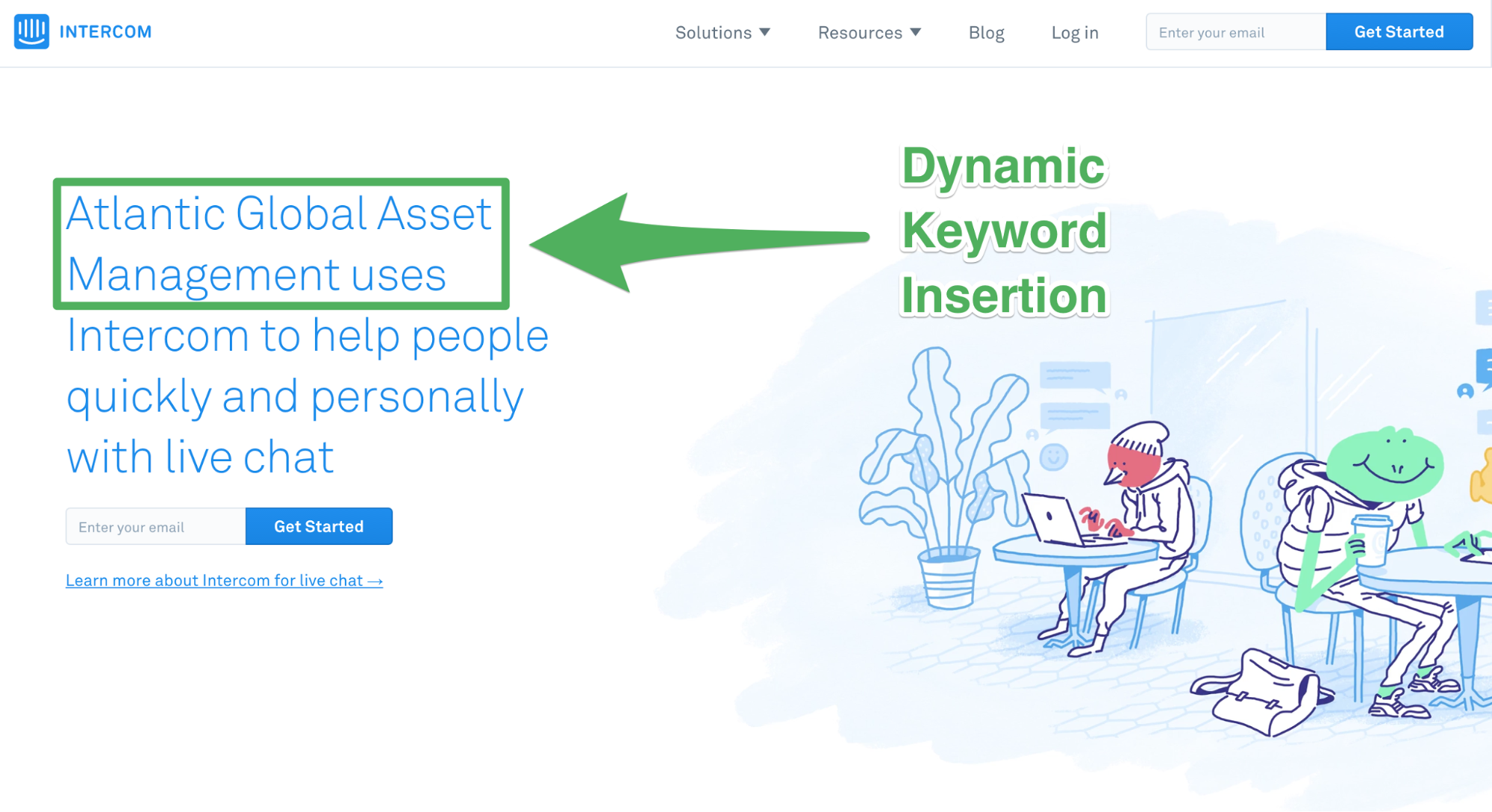 Screenshot showing a dynamic keyword landing page on intercom